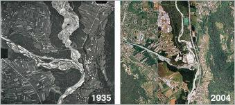 Fig.21 - Comparaison de la confluence des rivières Arve et Giffre entre 1935 et 2004.