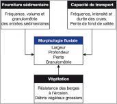 Fig. 2 - Les variables de contrôle de la morphologie fluviale aux échelles de temps pluri-décennales (Montgomery et Buffington 1998).