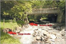 Fig.4 - Érosion de la berge et incision du lit mettant en danger le pont.
