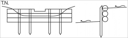 Fig.10 - Schéma de principe d'un seuil rustique avec dispositif de recalibrage des débits.