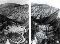 Fig. 2 - Torrent du Bourget : (a) en 1887 ; (b) en 1905.