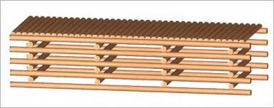 Fig.32 - Platelage avec rondins refendus sur la longueur et disposés dans le même sens.