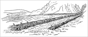 Fig. 4 - Canalisation d'un torrent par construction de saucissons parallèles sur les berges (Mathieu 1864).